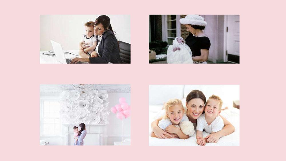 Collage de Fotos una Mamá con sus Hijos